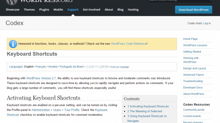 Keyboard shortcuts at Wordpress_org - screenshot of Wordpress.org
