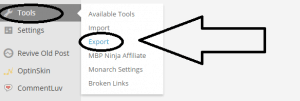 Tools - Export under WordPress dashboard - screenshot at NoPassiveIncome blog