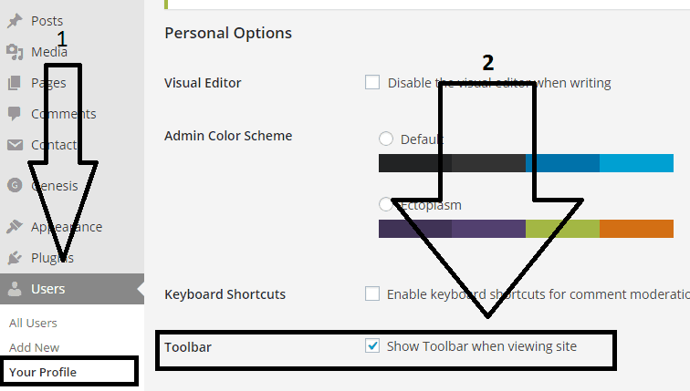 how to disabling to show toolbar when viewing WordPress site as admin
