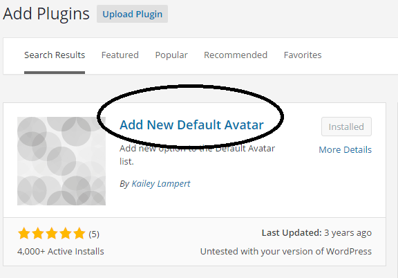 Add New Default Plugin screenshot