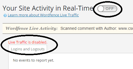 Live Traffic disabled with Wordfence Security plugin