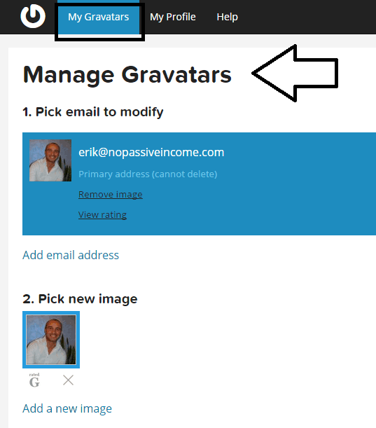 Manage gravatar at Gravatar_com