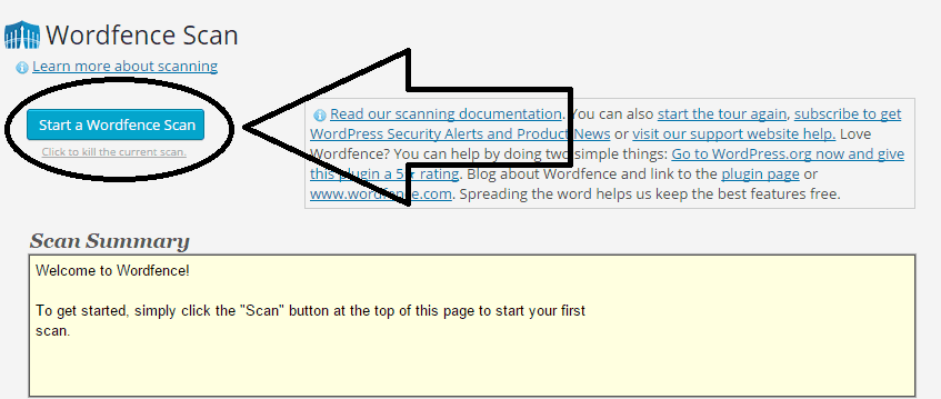 Scan option with Wordfence Security WP plugin