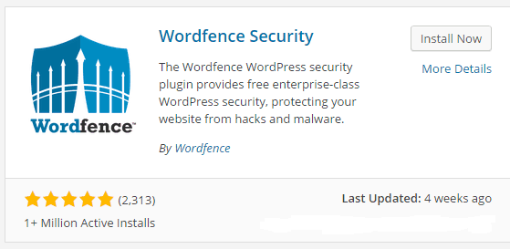 Wordfence Security plugin screenshot
