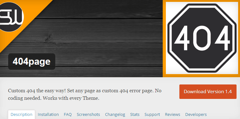 404page wordpress plugin