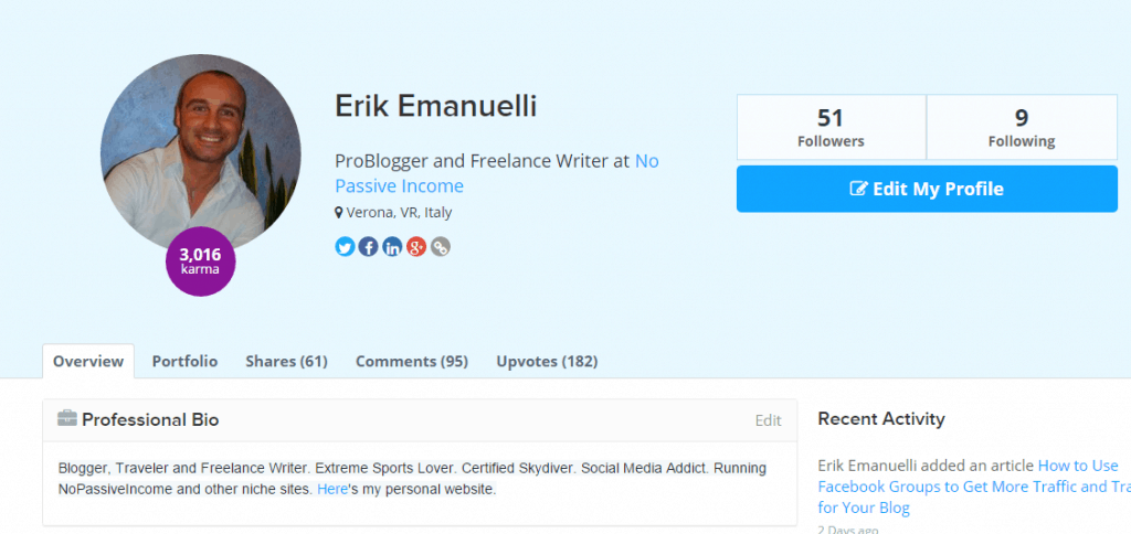 Erik Emanuelli profile at Inbound dot org