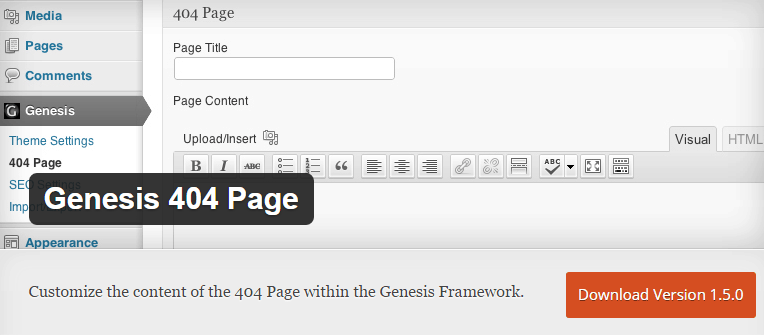 Genesis 404 page wordpress plugin