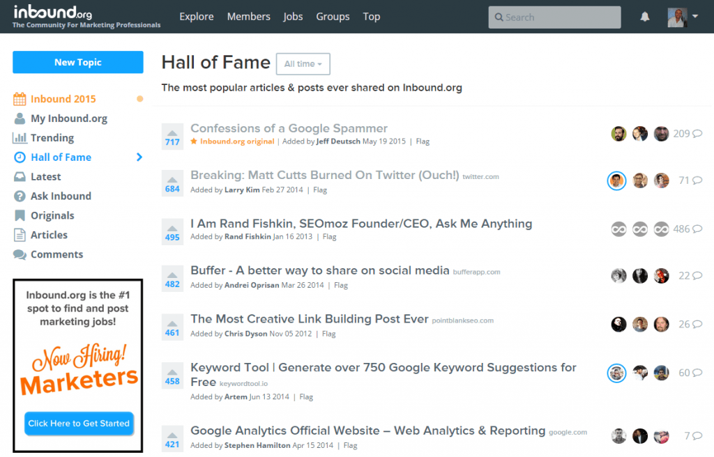 Inbound dot org hall of fame screenshot