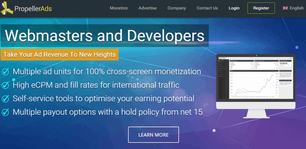 Propeller Ads homepage screenshot