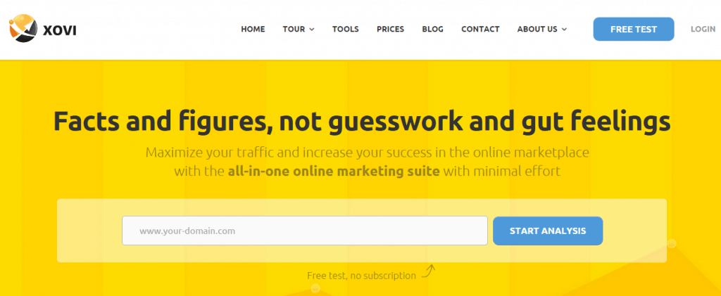 XOVI homepage free test