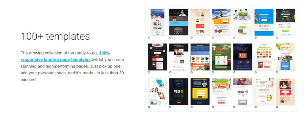 100 templates available for GetResponse landing page builder