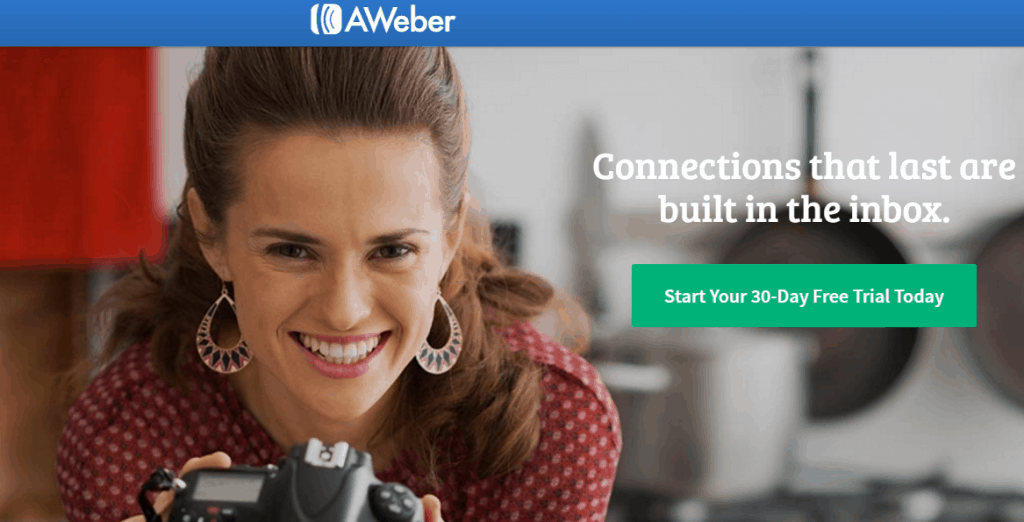 Aweber homepage screenshot
