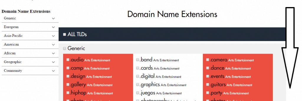 Domain name extensions table at Temok
