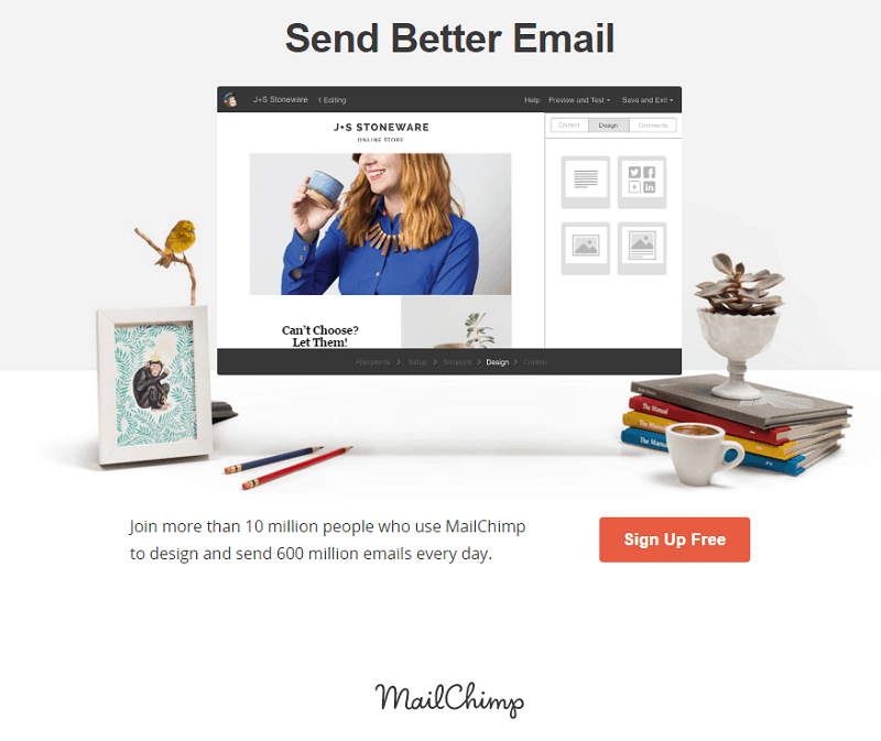 MailChimp homepage screenshot