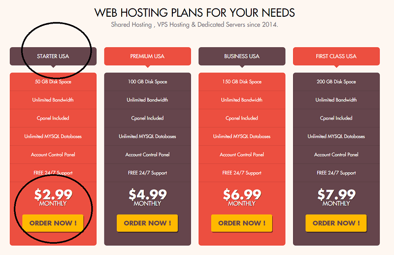 web hosting plans at Temok