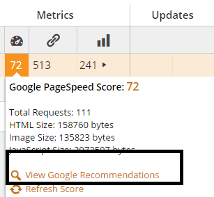 Checking Google PageSpeed score with CMS Commander