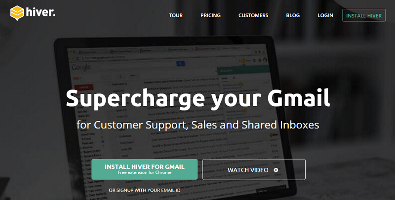 Hiver homepage screenshot