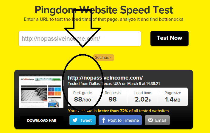 Pingdom testing performance after ShortPixel work