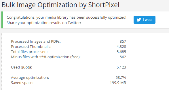 bulk image optimization results from ShortPixel plugin