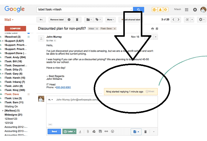 collision detection feature with Hiver at Gmail