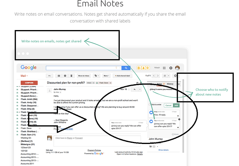 email notes feature with Hiver at Gmail