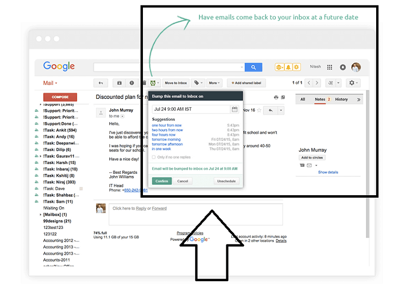 email reminders feature with Hiver at Gmail