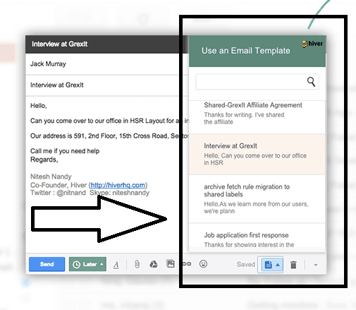 email templates feature with Hiver at Gmail