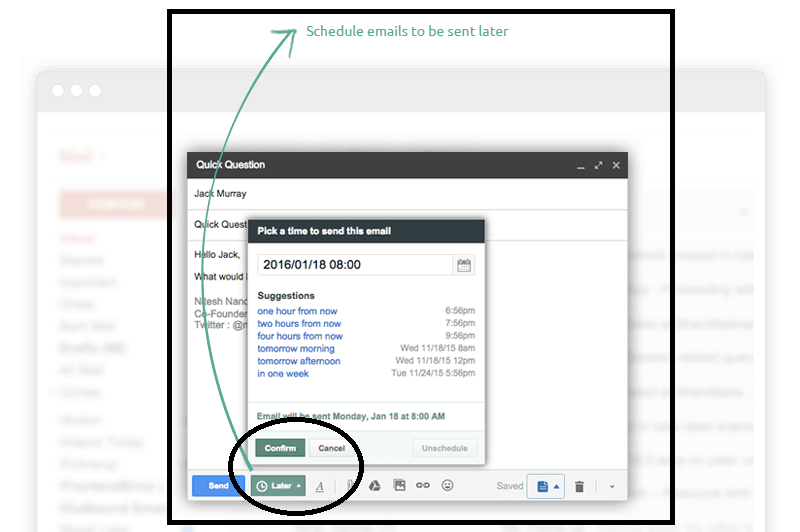 send later feature with Hiver at Gmail