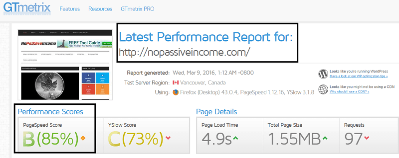 testing nopassiveincome homepage speed with GTmetrix