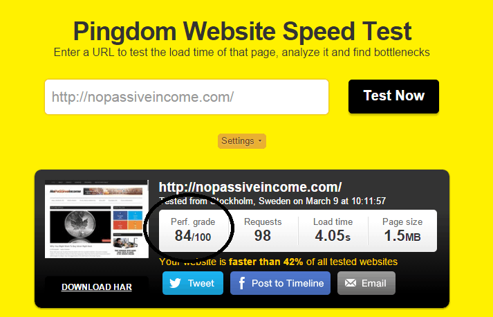 testing nopassiveincome homepage speed with Pingdom