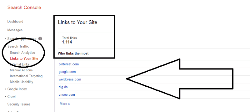 search traffic_links to your site under Google search console