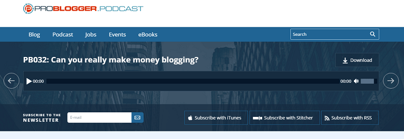 ProBlogger podcast screenshot