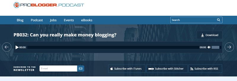 ProBlogger podcast screenshot