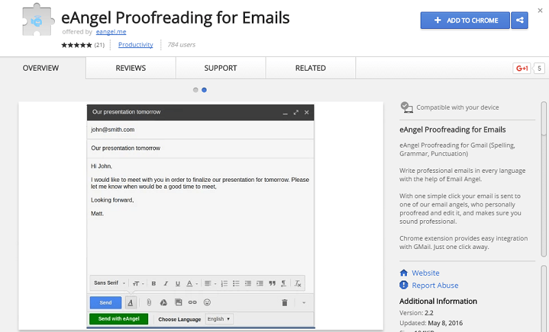 Chrome eAngel proofreading extension for emails