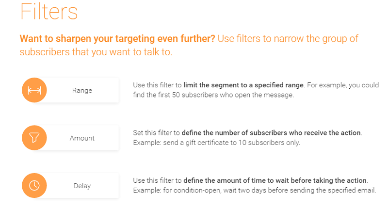 filters at GetResponse marketing automation